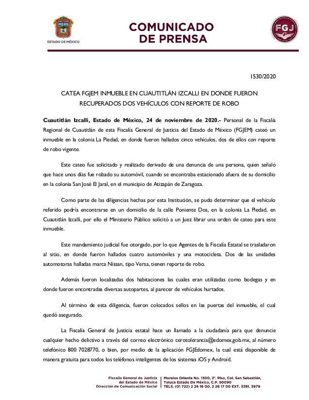 1530/2020 CATEA FGJEM INMUEBLE EN CUAUTITL�N IZCALLI EN DONDE FUERON RECUPERADOS DOS VEH�CULOS CON REPORTE DE ROBO Cuautit...