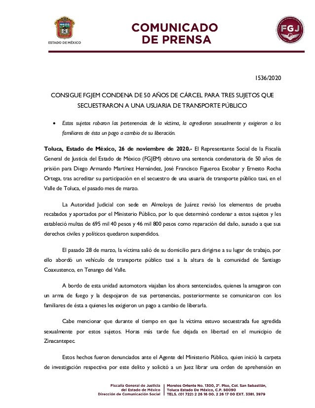 1536/2020 CONSIGUE FGJEM CONDENA DE 50 AÑOS DE CÁRCEL PARA TRES SUJETOS QUE SECUESTRARON A UNA USUARIA DE TRANSPORTE PÚBLI...