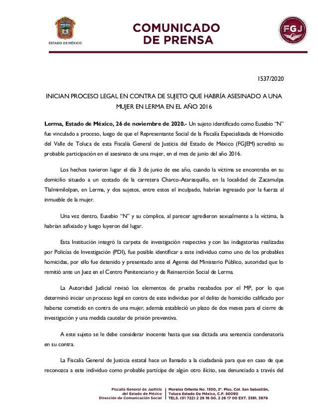 1537/2020 INICIAN PROCESO LEGAL EN CONTRA DE SUJETO QUE HABRÍA ASESINADO A UNA MUJER EN LERMA EN EL AÑO 2016 Lerma, Estado...