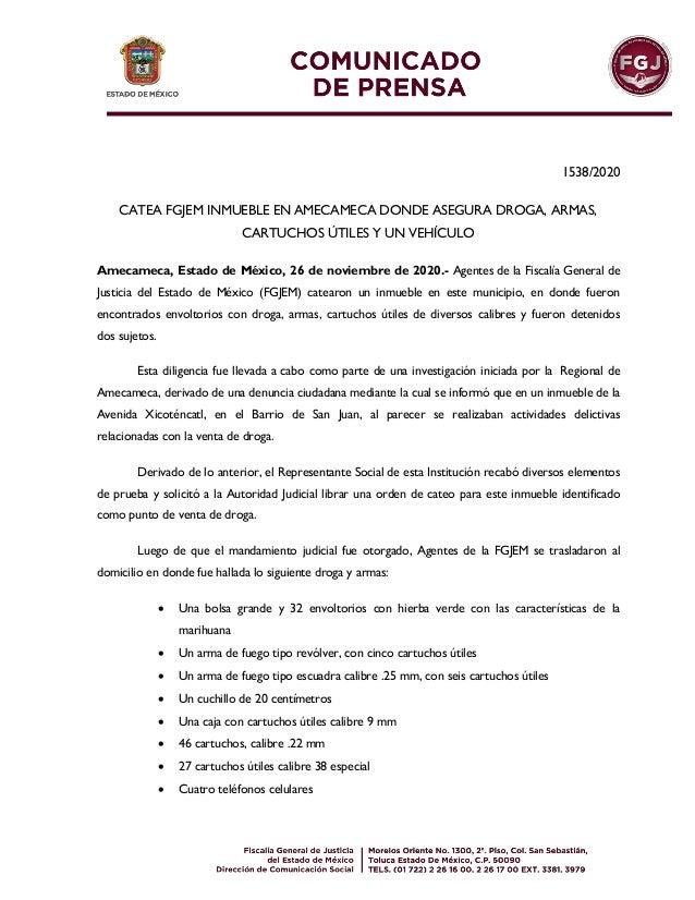 1538/2020 CATEA FGJEM INMUEBLE EN AMECAMECA DONDE ASEGURA DROGA, ARMAS, CARTUCHOS ÚTILES Y UN VEHÍCULO Amecameca, Estado d...