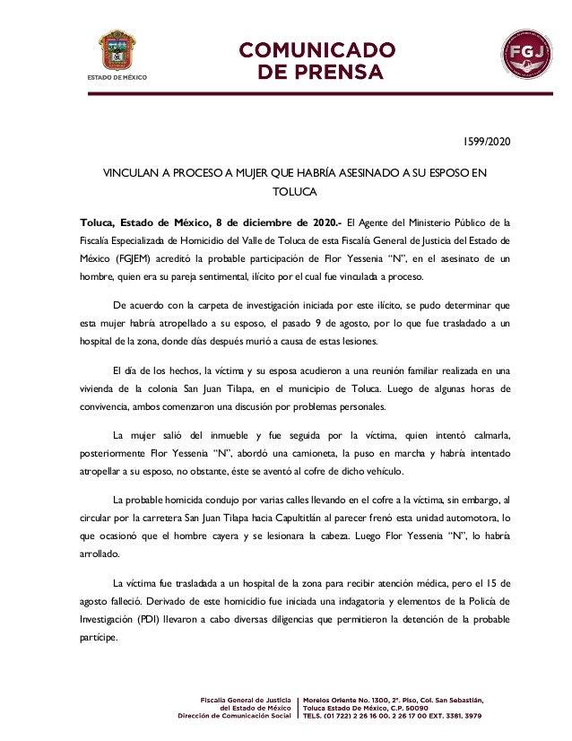 1599/2020 VINCULAN A PROCESO A MUJER QUE HABRÍA ASESINADO A SU ESPOSO EN TOLUCA Toluca, Estado de México, 8 de diciembre d...