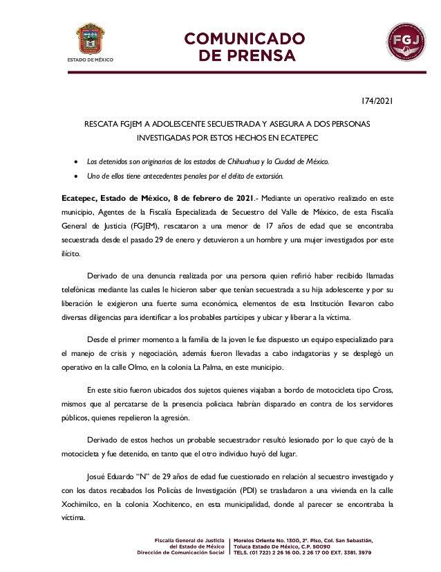 174/2021 RESCATA FGJEM A ADOLESCENTE SECUESTRADA Y ASEGURA A DOS PERSONAS INVESTIGADAS POR ESTOS HECHOS EN ECATEPEC  Los ...