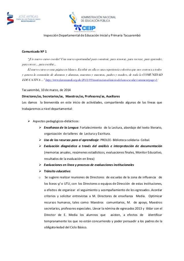 """Inspección Departamental de Educación Inicial y Primaria Tacuarembó Comunicado Nº 1 """"¡Un nuevo curso escolar! Una nueva op..."""