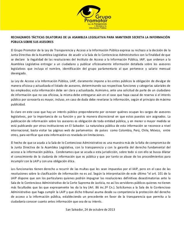 RECHAZAMOS TÁCTICAS DILATORIAS DE LA ASAMBLEA LEGISLATIVA PARA MANTENER SECRETA LA INFORMACIÓN PÚBLICA SOBRE SUS ASESORES ...