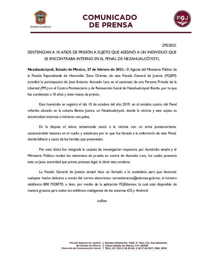 270/2021 SENTENCIAN A 10 AÑOS DE PRISIÓN A SUJETO QUE ASESINÓ A UN INDIVIDUO QUE SE ENCONTRABA INTERNO EN EL PENAL DE NEZA...