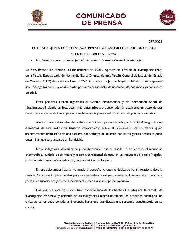 277/2021 DETIENE FGJEM A DOS PERSONAS INVESTIGADAS POR EL HOMICIDIO DE UN MENOR DE EDAD EN LA PAZ  Los detenidos son la m...