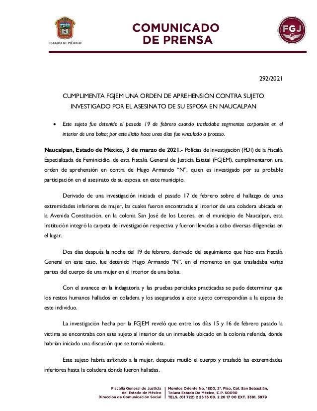 292/2021 CUMPLIMENTA FGJEM UNA ORDEN DE APREHENSIÓN CONTRA SUJETO INVESTIGADO POR EL ASESINATO DE SU ESPOSA EN NAUCALPAN ...