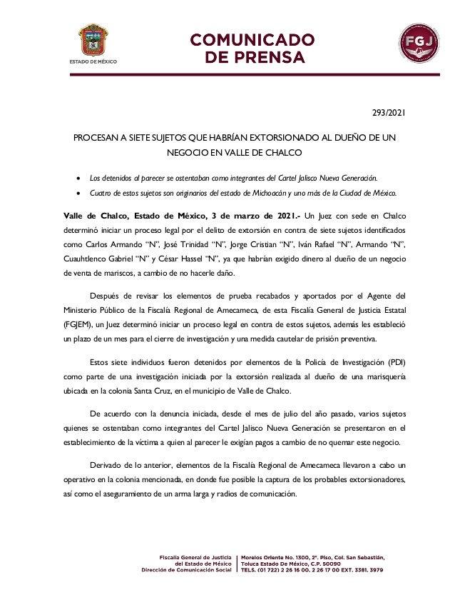 293/2021 PROCESAN A SIETE SUJETOS QUE HABRÍAN EXTORSIONADO AL DUEÑO DE UN NEGOCIO EN VALLE DE CHALCO  Los detenidos al pa...