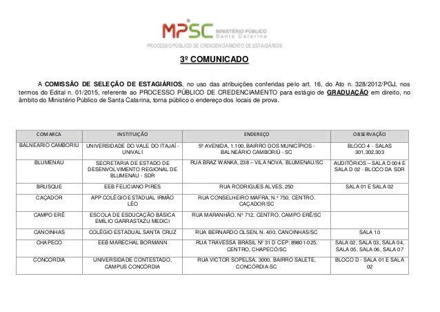 PROCESSO PÚBLICO DE CRENDENCIAMENTO DE ESTAGIÁRIOS 3º COMUNICADO A COMISSÃO DE SELEÇÃO DE ESTAGIÁRIOS, no uso das atribuiç...