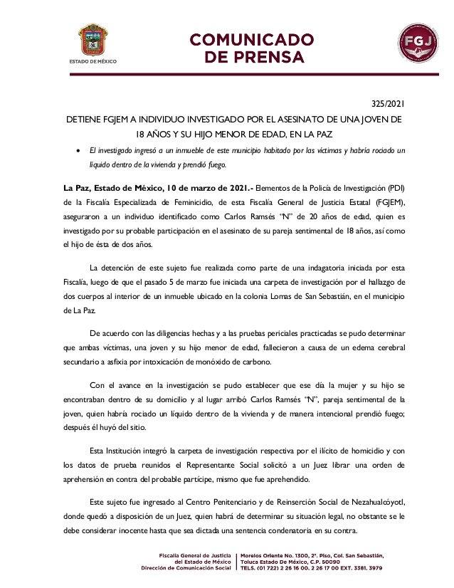 325/2021 DETIENE FGJEM A INDIVIDUO INVESTIGADO POR EL ASESINATO DE UNA JOVEN DE 18 AÑOS Y SU HIJO MENOR DE EDAD, EN LA PAZ...