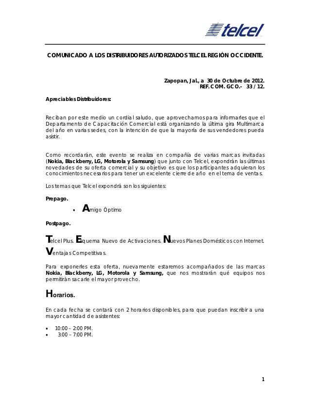COMUNICADO A LOS DISTRIBUIDORES AUTORIZADOS TELCEL REGIÓN OCCIDENTE.                                                Zapopa...