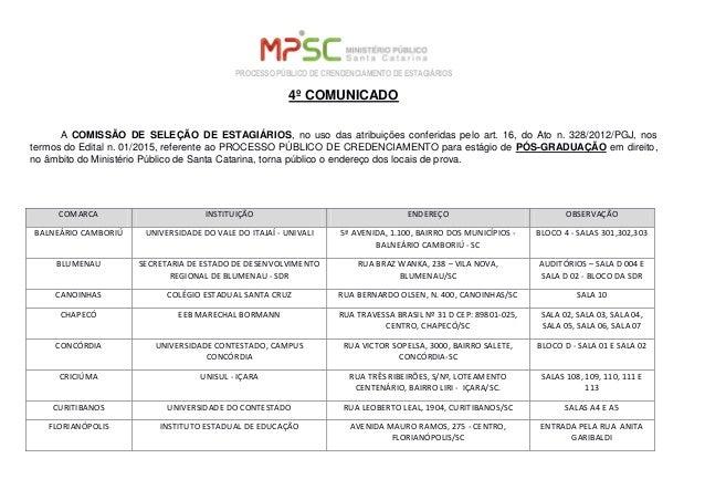 PROCESSO PÚBLICO DE CRENDENCIAMENTO DE ESTAGIÁRIOS 4º COMUNICADO A COMISSÃO DE SELEÇÃO DE ESTAGIÁRIOS, no uso das atribuiç...