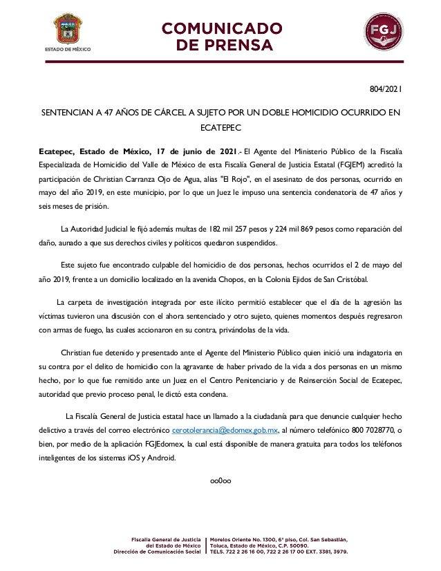 804/2021 SENTENCIAN A 47 AÑOS DE CÁRCEL A SUJETO POR UN DOBLE HOMICIDIO OCURRIDO EN ECATEPEC Ecatepec, Estado de México, 1...