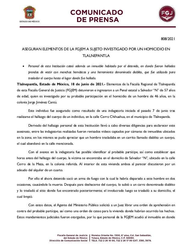 808/2021 ASEGURAN ELEMENTOS DE LA FGJEM A SUJETO INVESTIGADO POR UN HOMICIDIO EN TLALNEPANTLA  Personal de esta Instituci...