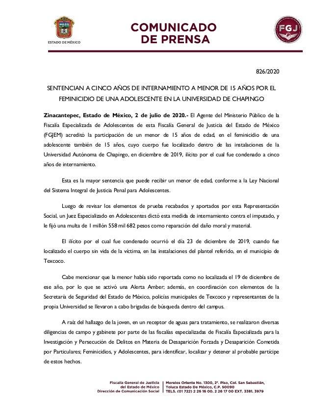 826/2020 SENTENCIAN A CINCO A�OS DE INTERNAMIENTO A MENOR DE 15 A�OS POR EL FEMINICIDIO DE UNA ADOLESCENTE EN LA UNIVERSID...