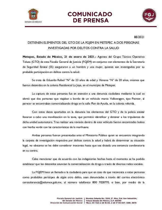 88/2021 DETIENEN ELEMENTOS DEL GTO DE LA FGJEM EN METEPEC A DOS PERSONAS INVESTIGADAS POR DELITOS CONTRA LA SALUD Metepec,...