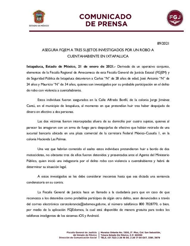 89/2021 ASEGURA FGJEM A TRES SUJETOS INVESTIGADOS POR UN ROBO A CUENTAHABIENTE EN IXTAPALUCA Ixtapaluca, Estado de México,...