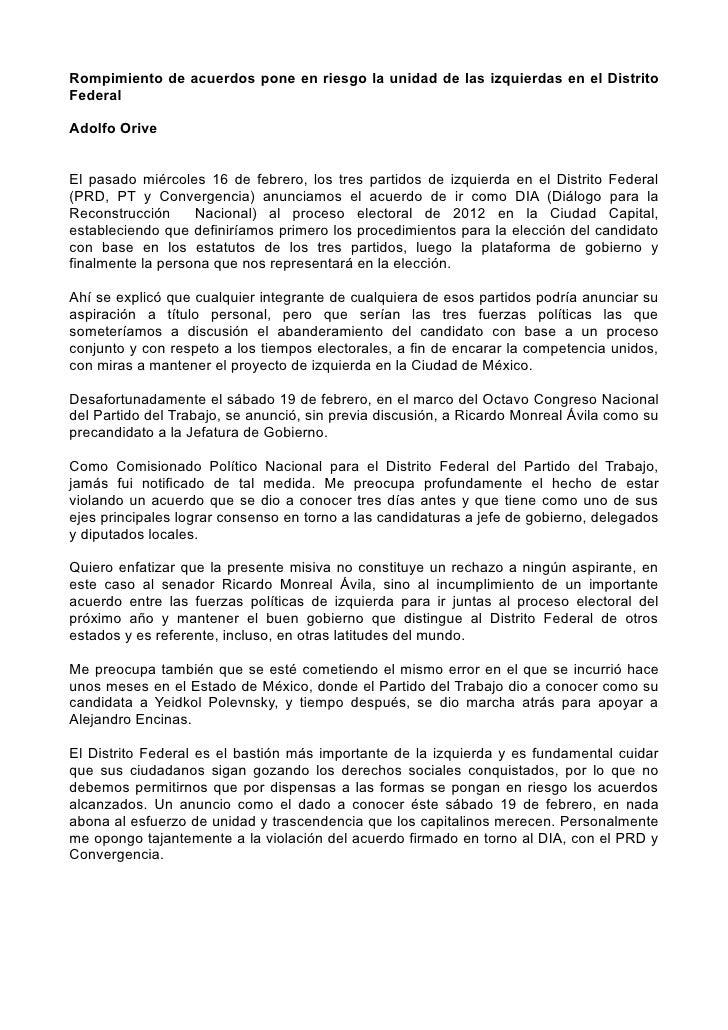 Rompimiento de acuerdos pone en riesgo la unidad de las izquierdas en el DistritoFederalAdolfo OriveEl pasado miércoles 16...