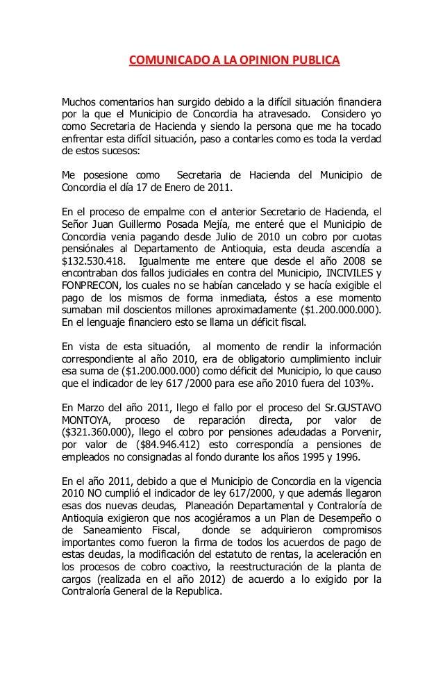 COMUNICADO A LA OPINION PUBLICAMuchos comentarios han surgido debido a la difícil situación financierapor la que el Munici...