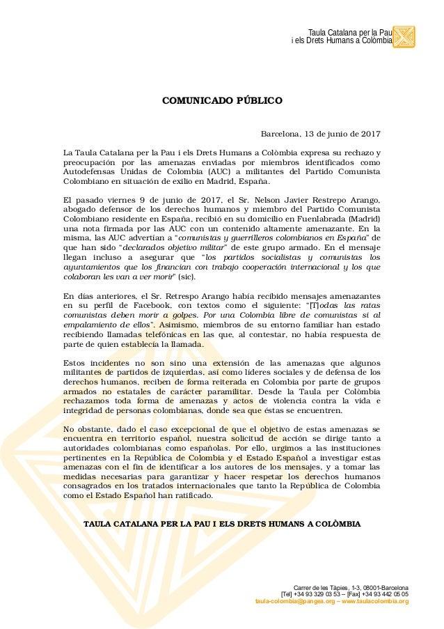 Taula Catalana Per La Pau I Els Drets Humans A Colmbia COMUNICADO PBLICO Barcelona 13