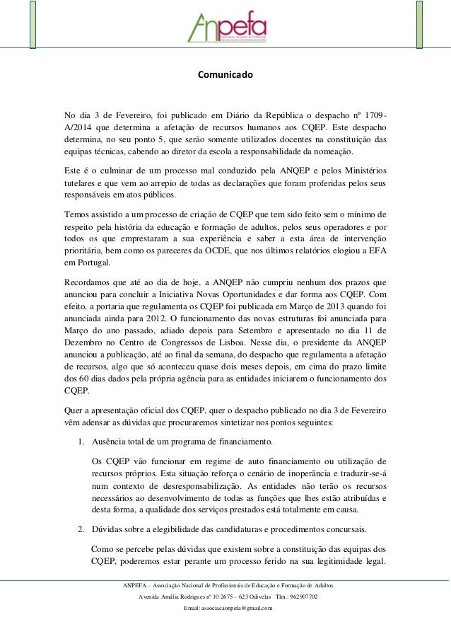 ANPEFA – Associação Nacional de Profissionais de Educação e Formação de Adultos Avenida Amália Rodrigues nº 10 2675 – 623 ...