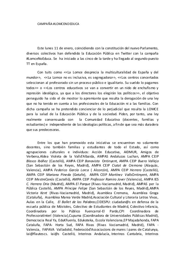 CAMPAÑA #LOMCENOEDUCA Este lunes 11 de enero, coincidiendo con la constitución del nuevo Parlamento, diversos colectivos h...