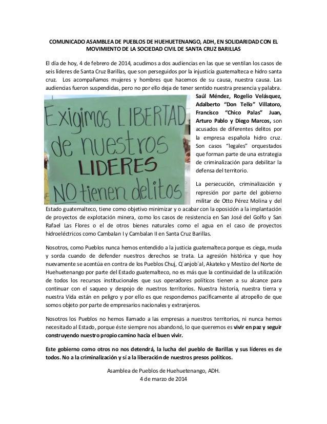 COMUNICADO ASAMBLEA DE PUEBLOS DE HUEHUETENANGO, ADH, EN SOLIDARIDAD CON EL MOVIMIENTO DE LA SOCIEDAD CIVIL DE SANTA CRUZ ...