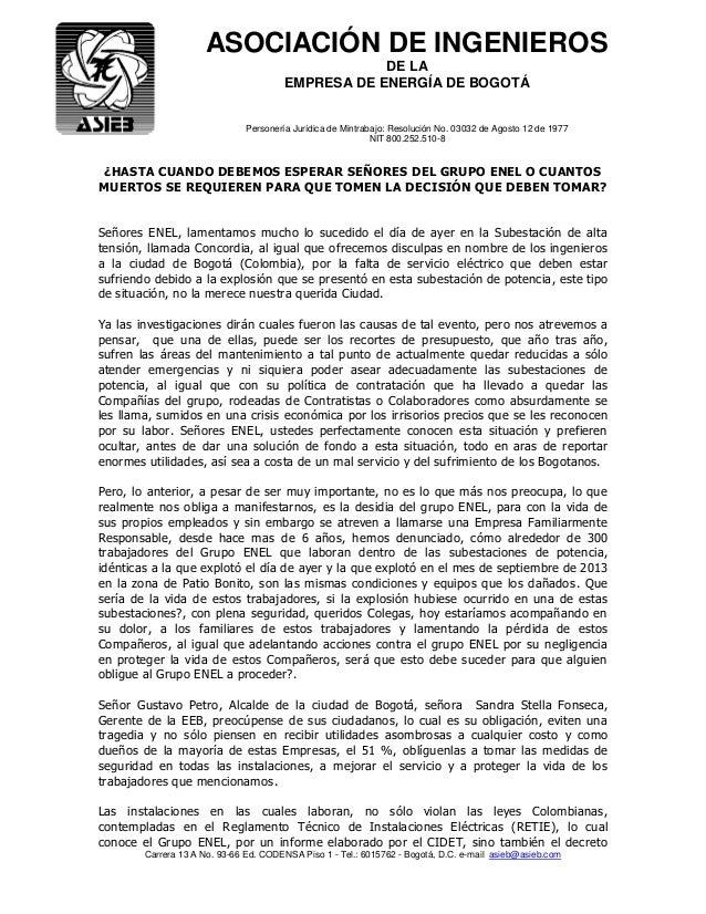 ASOCIACIÓN DE INGENIEROS DE LA EMPRESA DE ENERGÍA DE BOGOTÁ Personería Jurídica de Mintrabajo: Resolución No. 03032 de Ago...