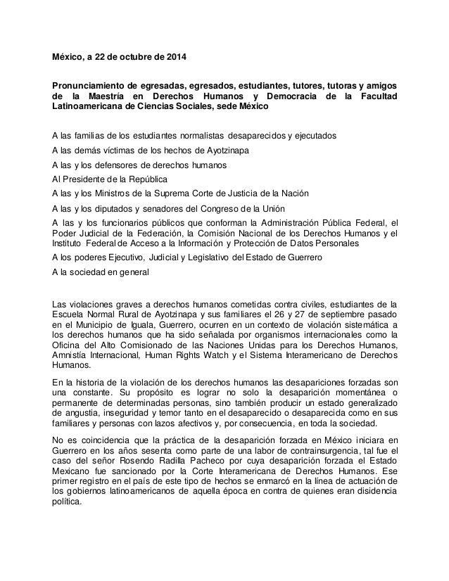 México, a 22 de octubre de 2014  Pronunciamiento de egresadas, egresados, estudiantes, tutores, tutoras y amigos  de la Ma...