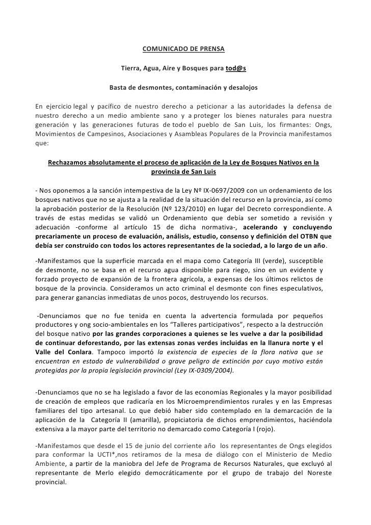 COMUNICADO DE PRENSA<br />Tierra, Agua, Aire y Bosques para tod@s <br />Basta de desmontes, contaminacióny desalojos<br /...