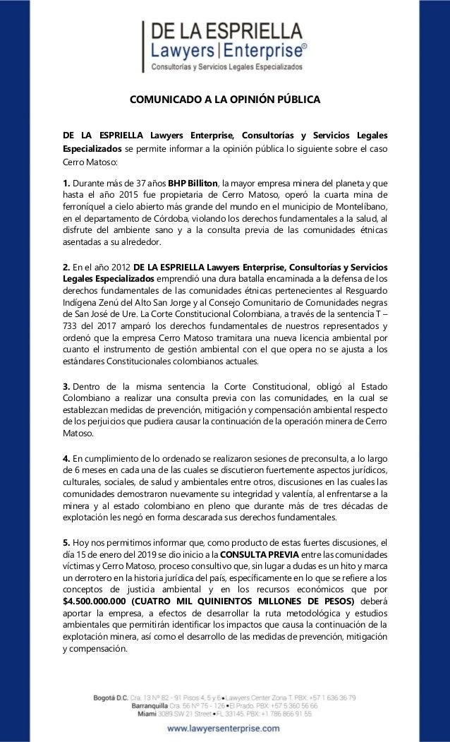 COMUNICADO A LA OPINIÓN PÚBLICA DE LA ESPRIELLA Lawyers Enterprise, Consultorías y Servicios Legales Especializados se per...