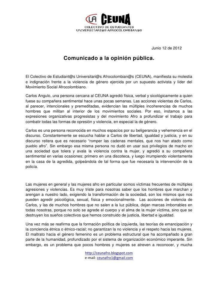 Junio 12 de 2012                      Comunicado a la opinión pública.El Colectivo de Estudiant@s Universitari@s Afrocolom...