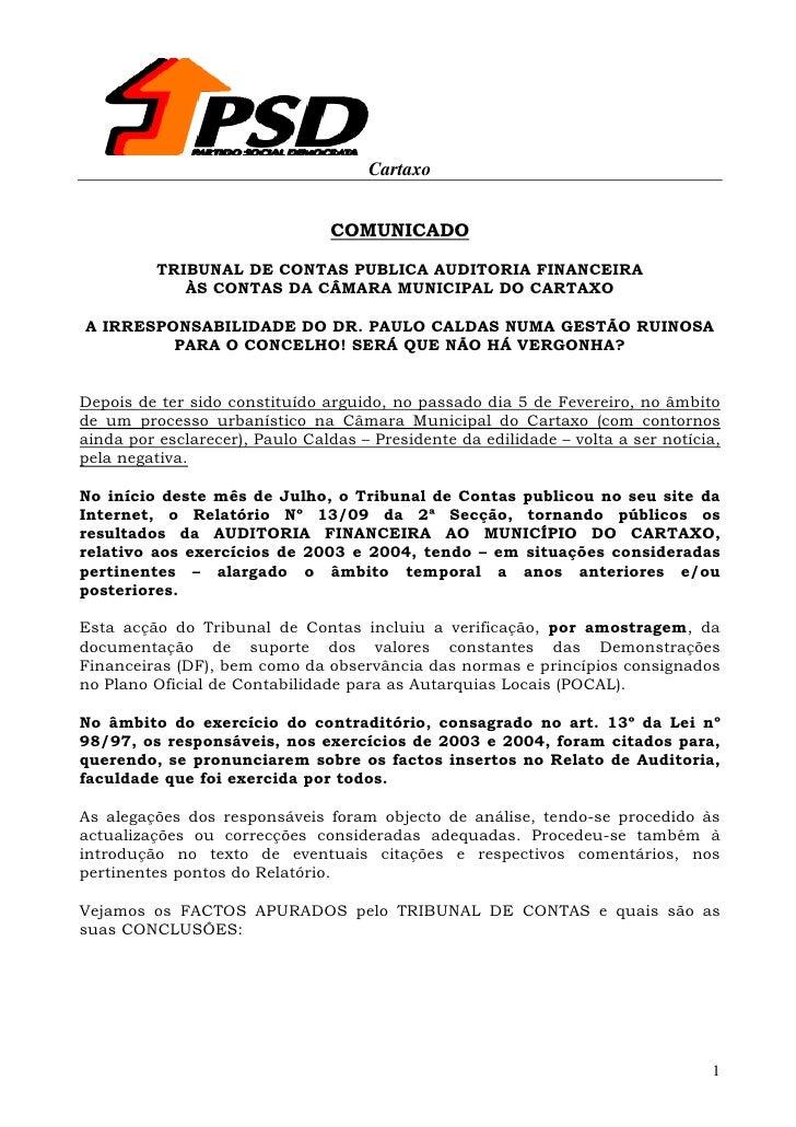 Cartaxo                                   COMUNICADO            TRIBUNAL DE CONTAS PUBLICA AUDITORIA FINANCEIRA           ...