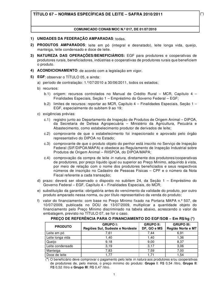 TÍTULO 67 – NORMAS ESPECÍFICAS DE LEITE – SAFRA 2010/2011                                                    (*)          ...