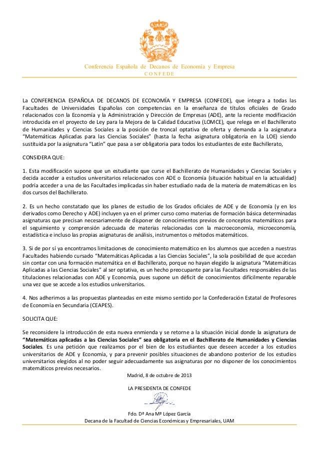 Conferencia Española de Decanos de Economía y Empresa C O N F E D E La   CONFERENCIA   ESPAÑOLA   DE   DECANOS  ...