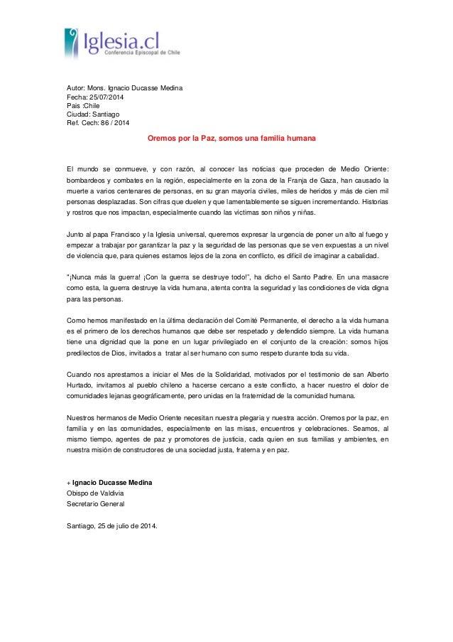 Autor: Mons. Ignacio Ducasse Medina Fecha: 25/07/2014 Pais :Chile Ciudad: Santiago Ref. Cech: 86 / 2014 Oremos por la Paz,...