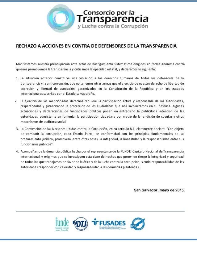 RECHAZO A ACCIONES EN CONTRA DE DEFENSORES DE LA TRANSPARENCIA Manifestamos nuestra preocupación ante actos de hostigamien...