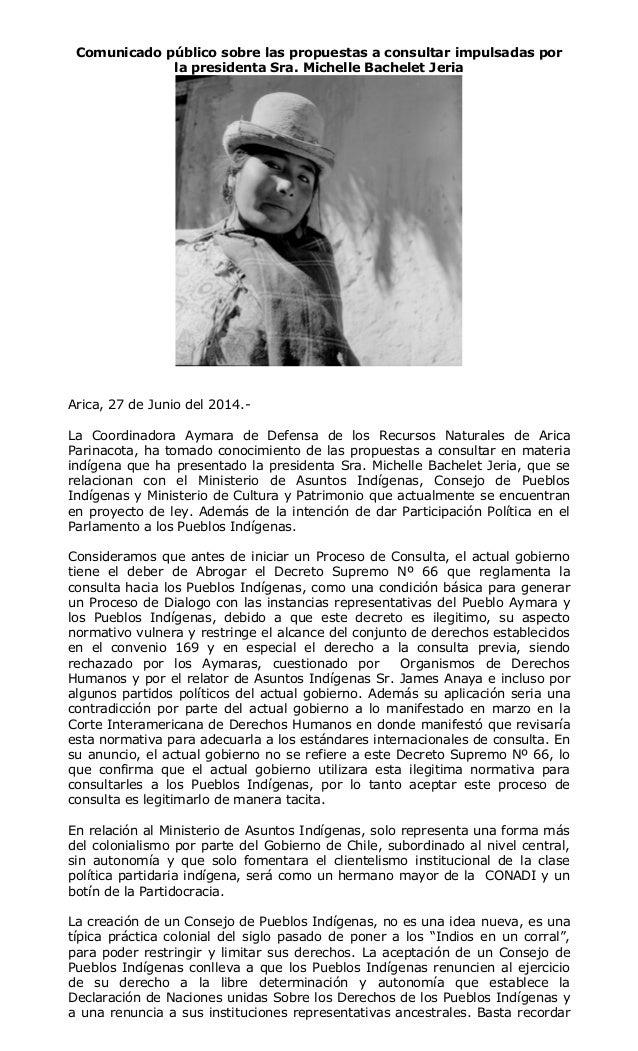 Comunicado público sobre las propuestas a consultar impulsadas por la presidenta Sra. Michelle Bachelet Jeria Arica, 27 de...