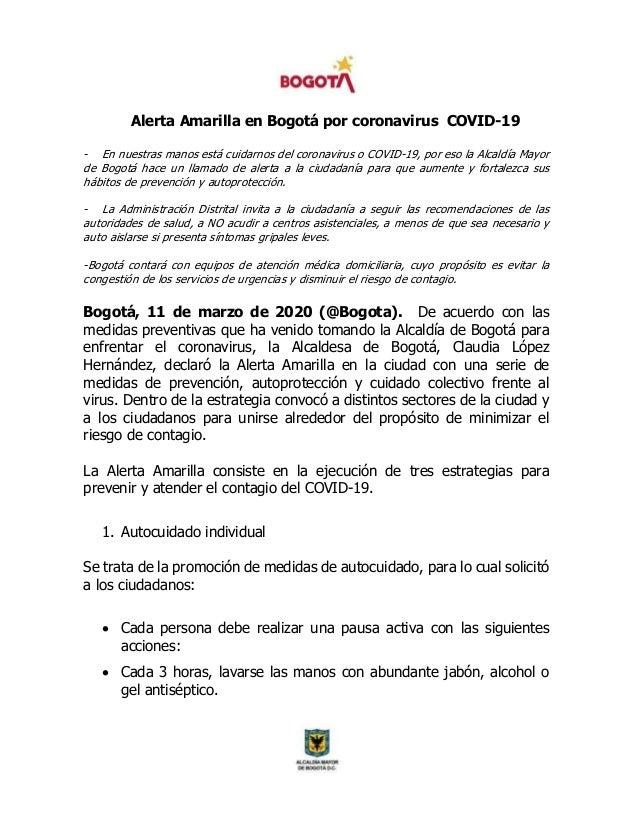 Alerta Amarilla en Bogotá por coronavirus COVID-19 - En nuestras manos está cuidarnos del coronavirus o COVID-19, por eso ...