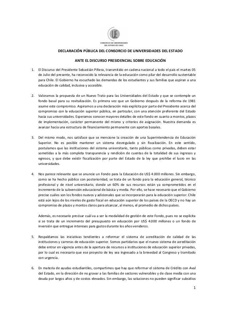 DECLARACIÓN PÚBLICA DEL CONSORCIO DE UNIVERSIDADES DEL ESTADO                             ANTE EL DISCURSO PRESIDENCIAL SO...