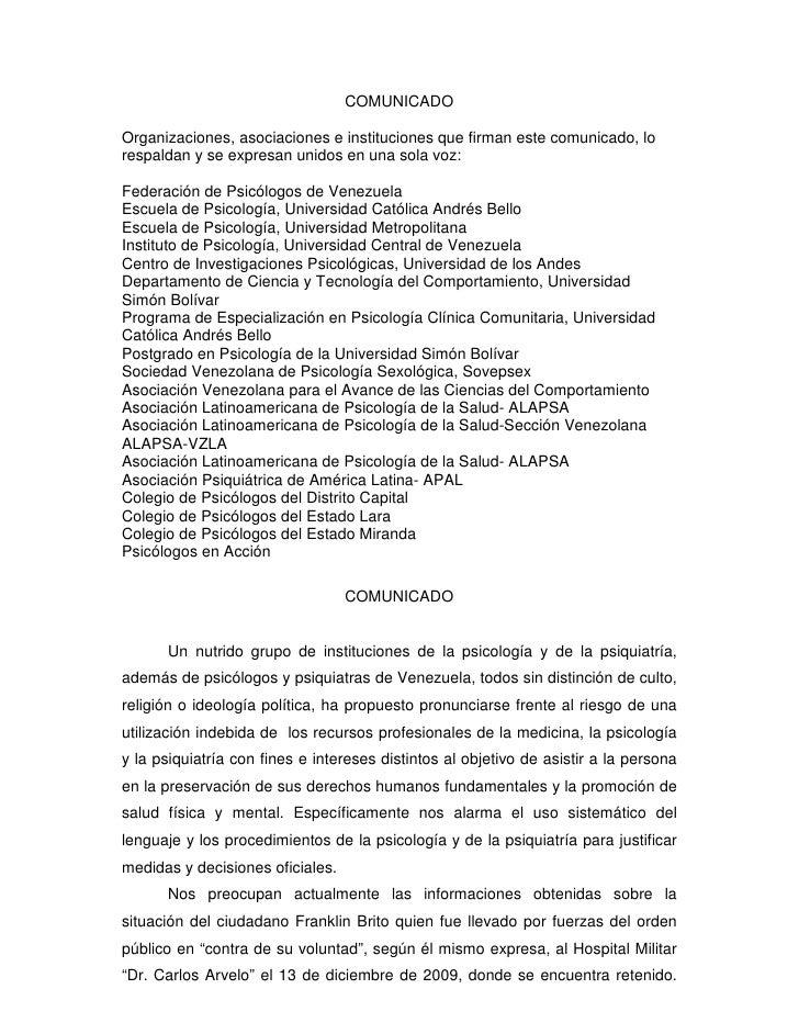 COMUNICADO  Organizaciones, asociaciones e instituciones que firman este comunicado, lo respaldan y se expresan unidos en ...