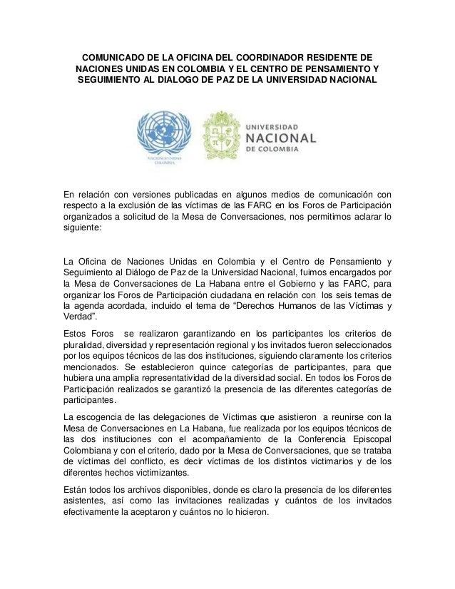 COMUNICADO DE LA OFICINA DEL COORDINADOR RESIDENTE DE NACIONES UNIDAS EN COLOMBIA Y EL CENTRO DE PENSAMIENTO Y SEGUIMIENTO...