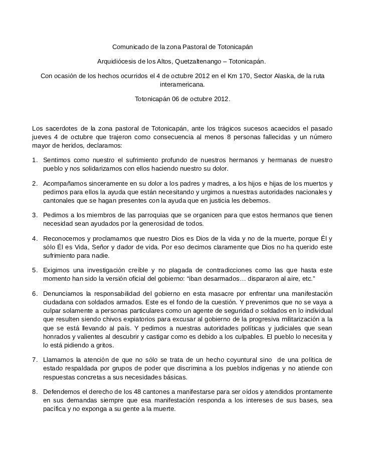 Comunicado de la zona Pastoral de Totonicapán                      Arquidiócesis de los Altos, Quetzaltenango – Totonicapá...