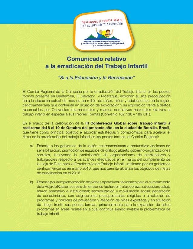 """Comunicado relativo a la erradicación del Trabajo Infantil """"Sí a la Educación y la Recreación"""" El Comité Regional de la Ca..."""