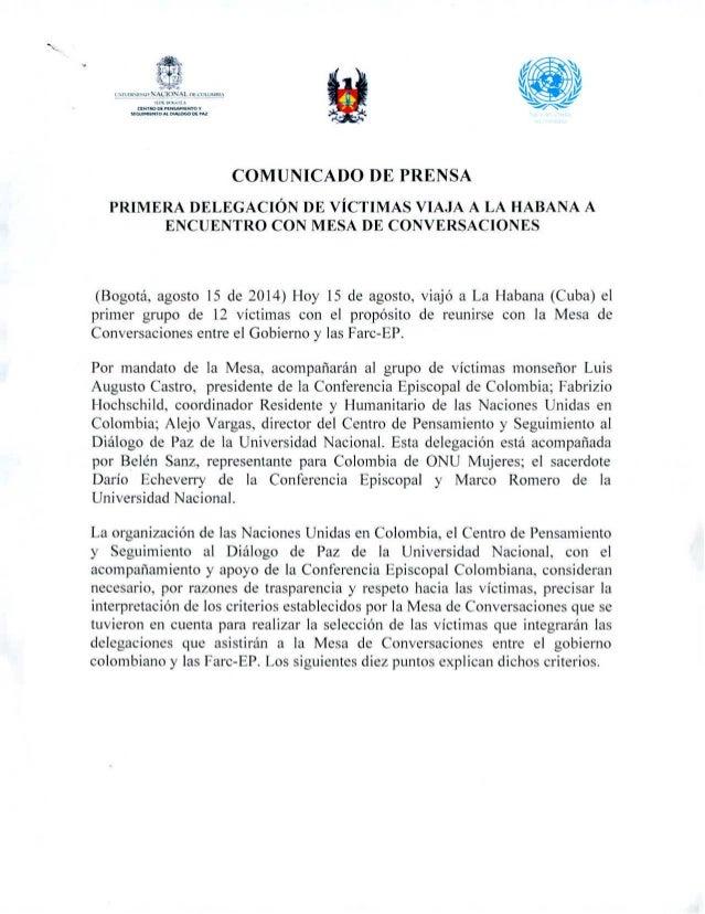 Comunicado de prensa conjunto, primera delegación de víctimas viaja a La Habana a encuentro con Mesa de Conversaciones