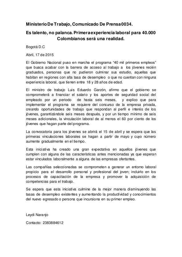 Ejemplo de Comunicado de prensa.