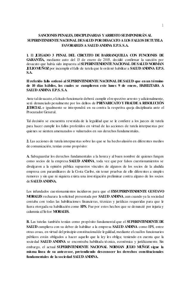 1 SANCIONES PENALES, DISCIPLINARIAS YARRESTO SEIMPONDRÁN AL SUPERINTENDENTENACIONALDESALUD POR DESACATO A LOS FALLOS DETUT...