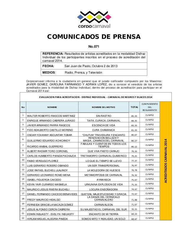 COMUNICADOS DE PRENSA No.071 Corpocarnaval informa a la ciudadanía en general que el jurado calificador compuesto por los ...