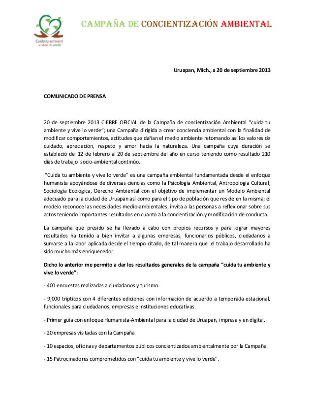 CAMPAÑA DE CONCIENTIZACIÓN AMBIENTAL Uruapan, Mich., a 20 de septiembre 2013 COMUNICADO DE PRENSA 20 de septiembre 2013 CI...