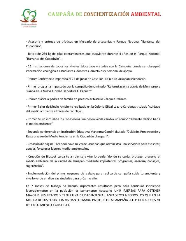 """CAMPAÑA DE CONCIENTIZACIÓN AMBIENTAL - Asesoría y entrega de trípticos en Mercado de artesanías y Parque Nacional """"Barranc..."""